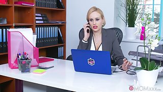 Office MILF is keen to smash the new guy's dick in her tiny holes