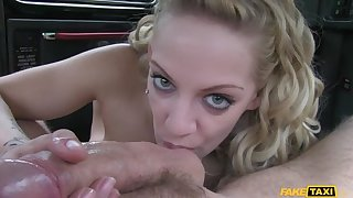 Cabbie Persuades Busty Blonde To Let Him Suffice for Her With His Cock