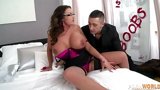 Curvy nympho Emma Butt gets her beamy titties and wet pussy fucked steadfast GP1033