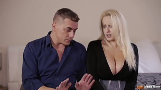 Newly hired blonde maid goes for everyone the way with the boss man