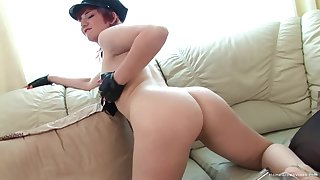 Redhead comprehensive drops her clothes increased by pleasures her juicy pussy
