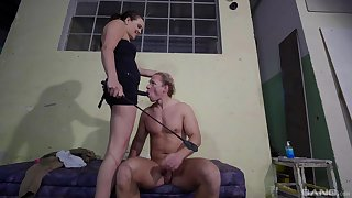 Nude porn in femdom action for submissive slave beggar