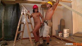 Hardcore ass fucking handy the construction site makes Bettina DiCapri cum GP1098