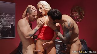 Two horny dudes are going to fuck Nicolette Shea like no one before