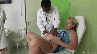 Blonde pregnant lady fucks with her handsome doctor in a threesome