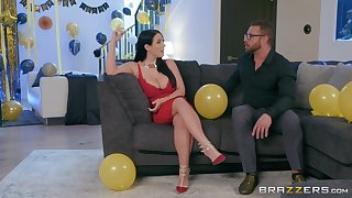 Angela White puts a finger on her clit during a sex for the best cum