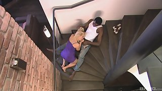 Katy Attractive deals the perfidious monster on the stairs