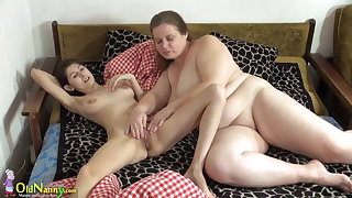 OldNanny Grey and young woman licking and toying