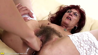 Deep fisting for down in the mouth mature mom's hairy pussy