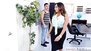 Naughty America - Fat pest Latina teacher fucks her student!