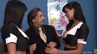 Busty office babes Kit Lee and Kat Lee share one bushwa in a threesome