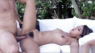Bushy babe fucked and jizzed outdoors