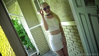 Blond slut Emma Starletto gives the brush buff and licks sweaty anus of kinky stranger