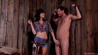 BDSM fetish lover Jasmine Jae dressed as a cowboy humiliates her slave