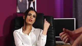 Hot office woman thinks more making out his huge dick