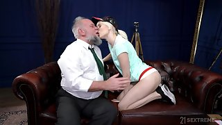 Young blonde suits her lustful needs with an old weasel words