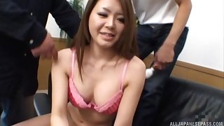 Two dudes team up approximately fuck mouth and pussy of a cute Asian girl