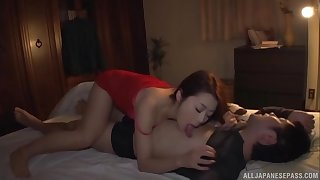 Asian beauty Maki Hojo gets her flimsy pussy hammered fast