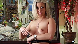 Small tits blonde Alana Luv opens her legs to play with a vibrator
