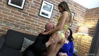 Old man comedy his wife coupled with their niece coupled with fucks them both