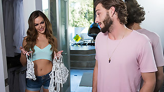 Aila Donovan wears say no to friend's lingerie then fucks say no to friend's man