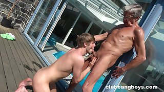Anal by the pool between an elderly chap with the addition of his obedient twink