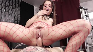 Teeny-weeny tatted up nympho Holly Hendrix riding a on the mark hard cock