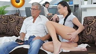 DADDY4K. Aroused cutie permits BF's pa to fuck her greedy pussy